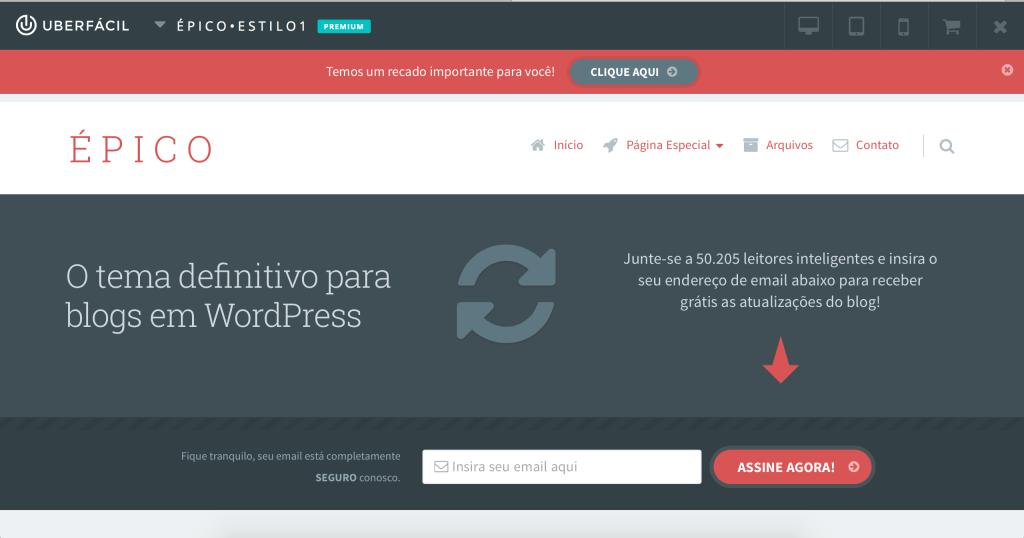 Tema ÉPICO grátis - Demo Online